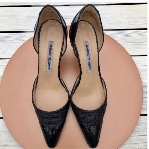Manolo Blahnik Shoes - Manolo Blahnik black woven pointed toe pumps 8